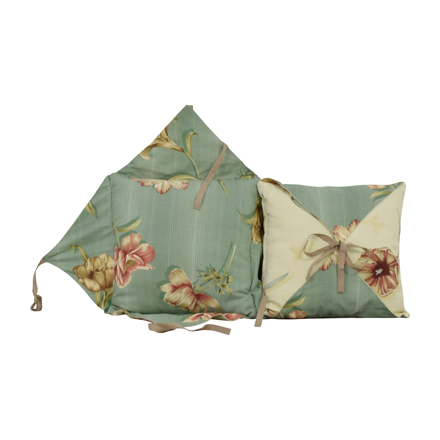 Beige and Blue Reversible Floral Toss Pillows