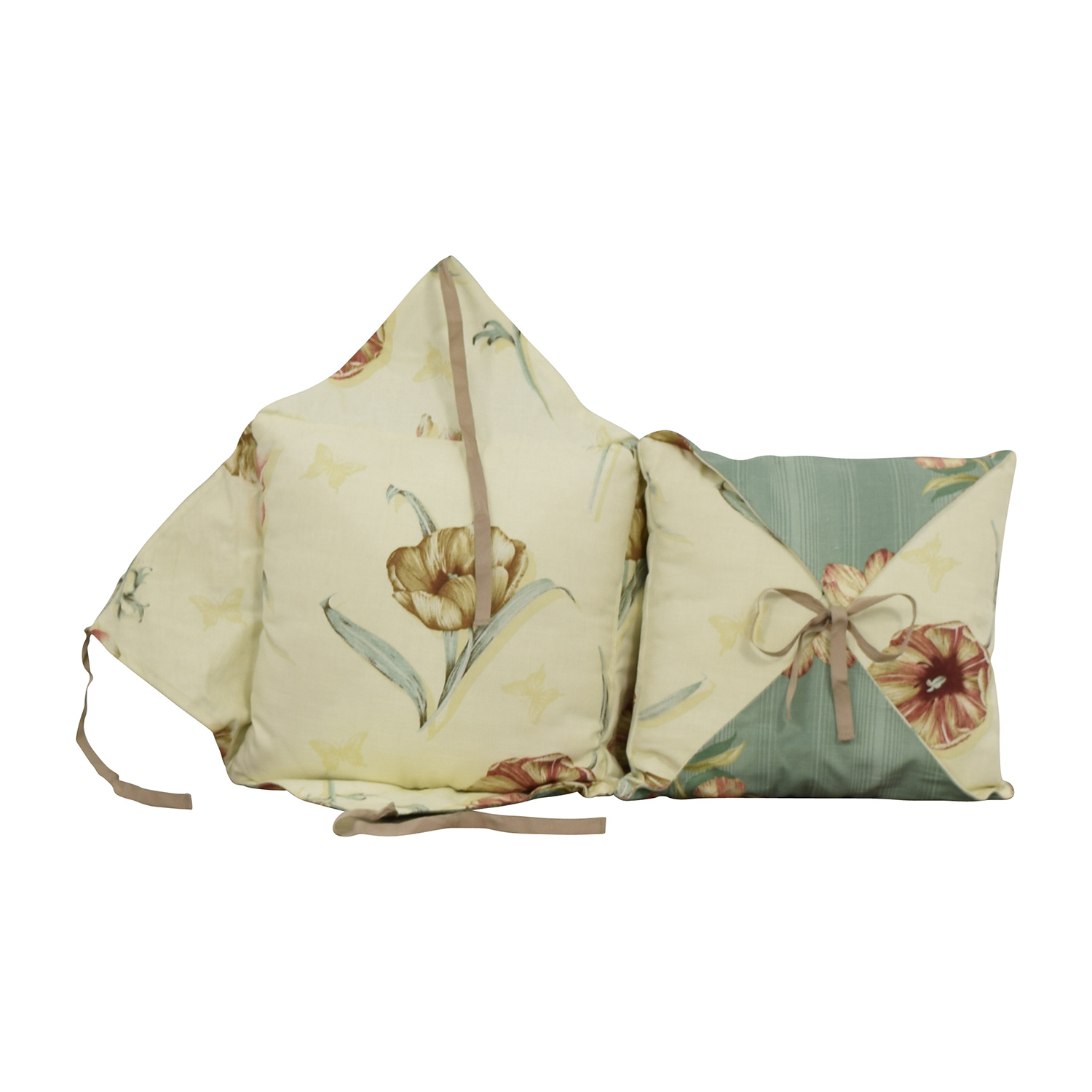 Beige and Blue Reversible Floral Toss Pillows nyc