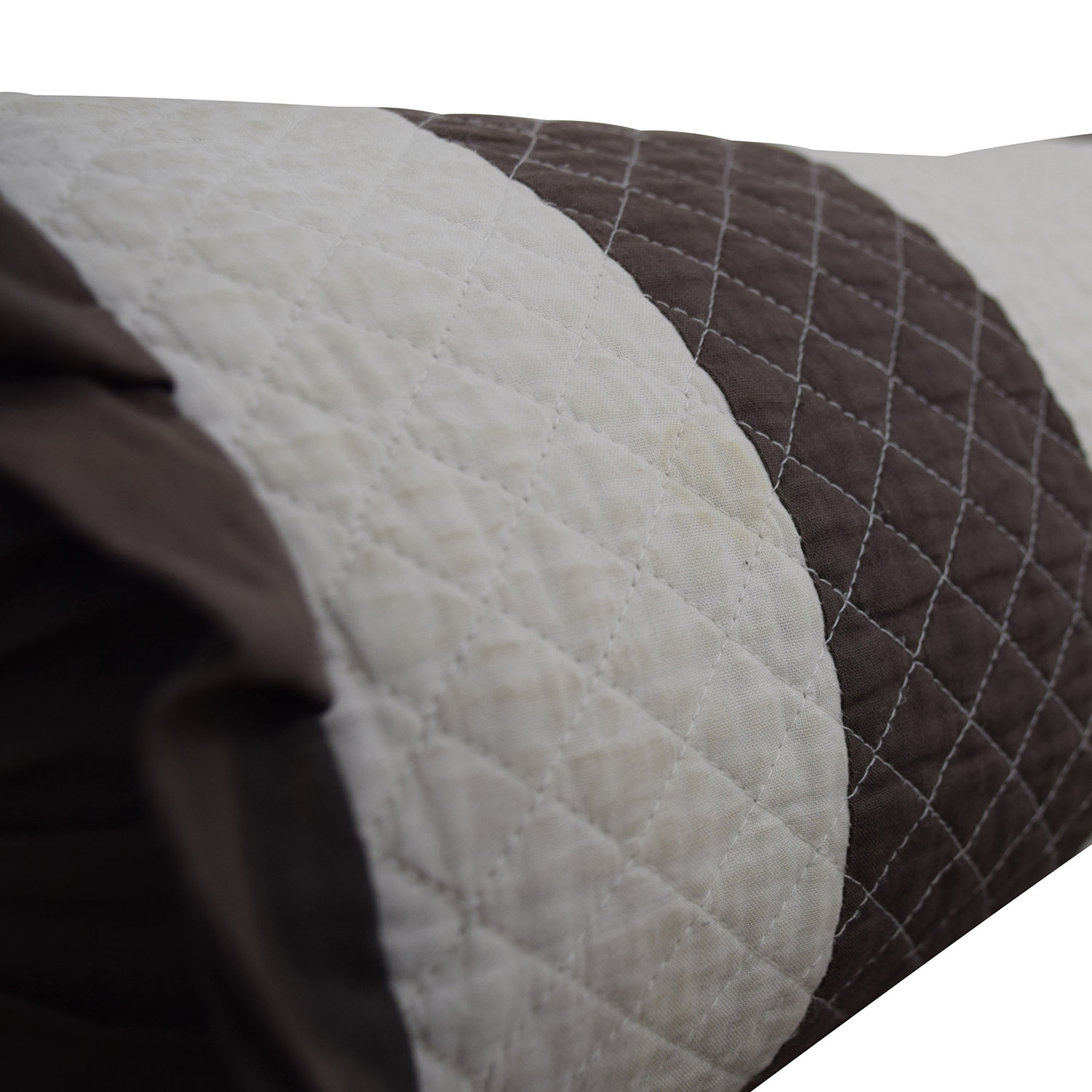 Brown and White Quilted Neck Roll Decorative Accents