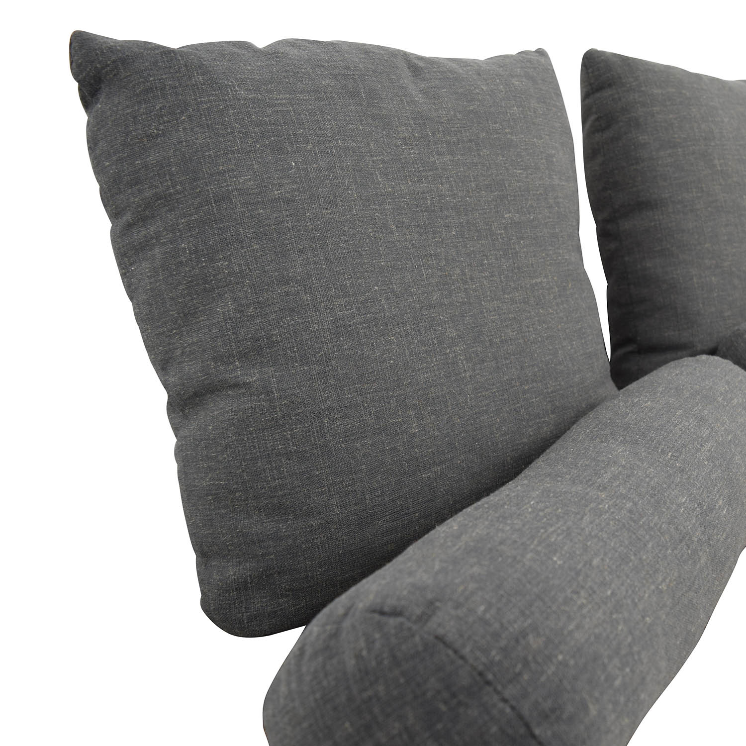 Grey Square Toss Pillow and Neck Rolls Decor