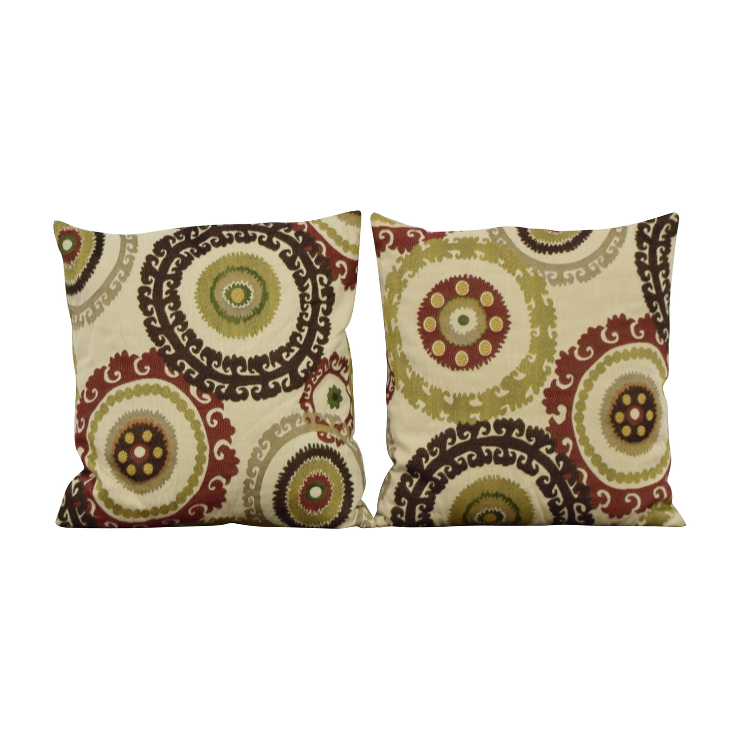 Multi-colored Embroidered Square Pillows nj