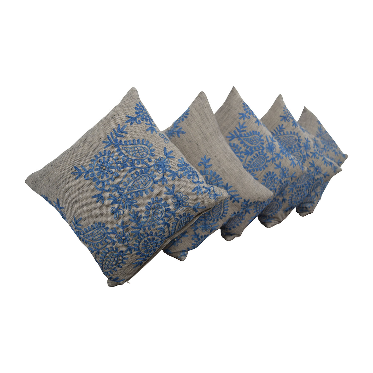 Grey with Blue Embroidered Toss Pillows coupon