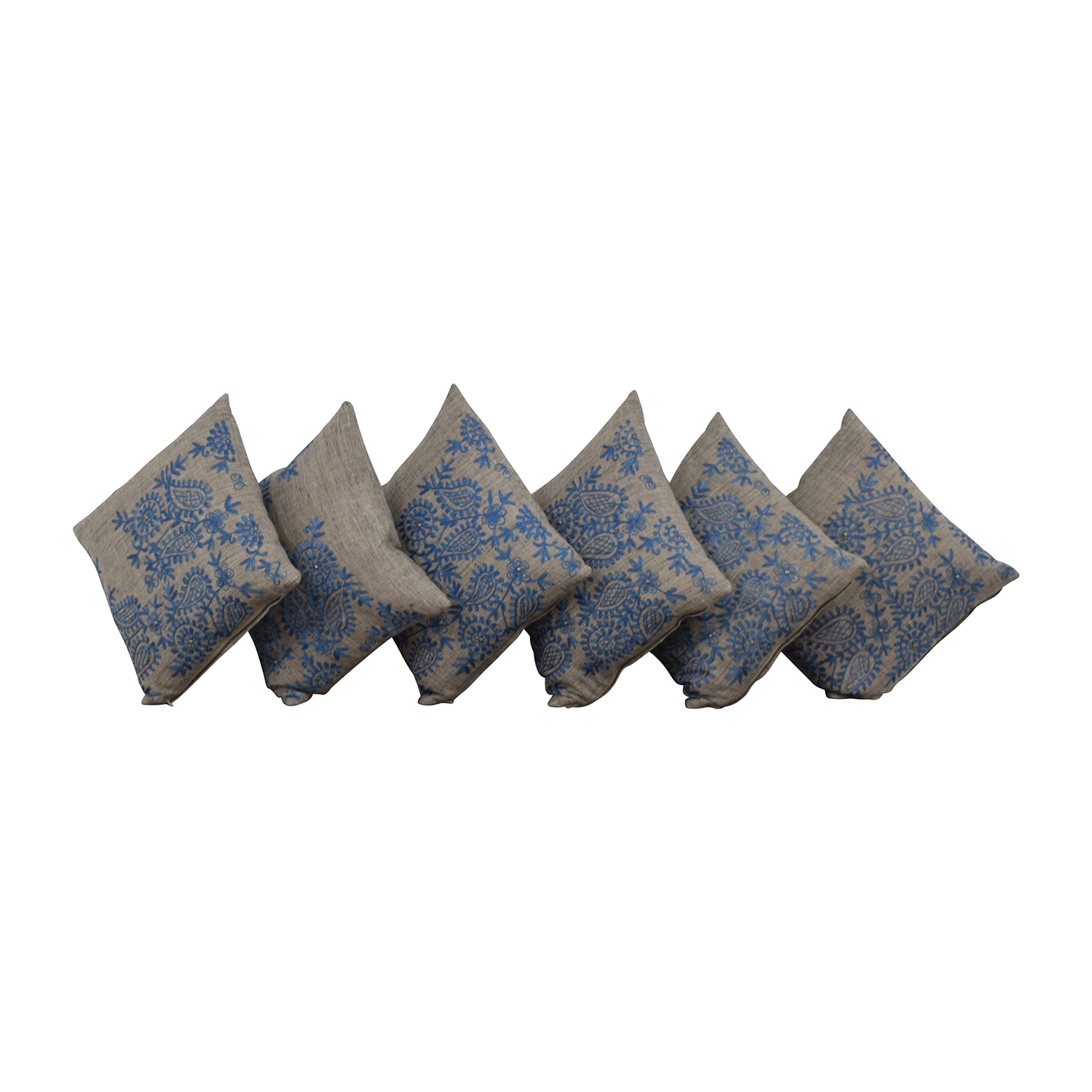 Grey with Blue Embroidered Toss Pillows sale
