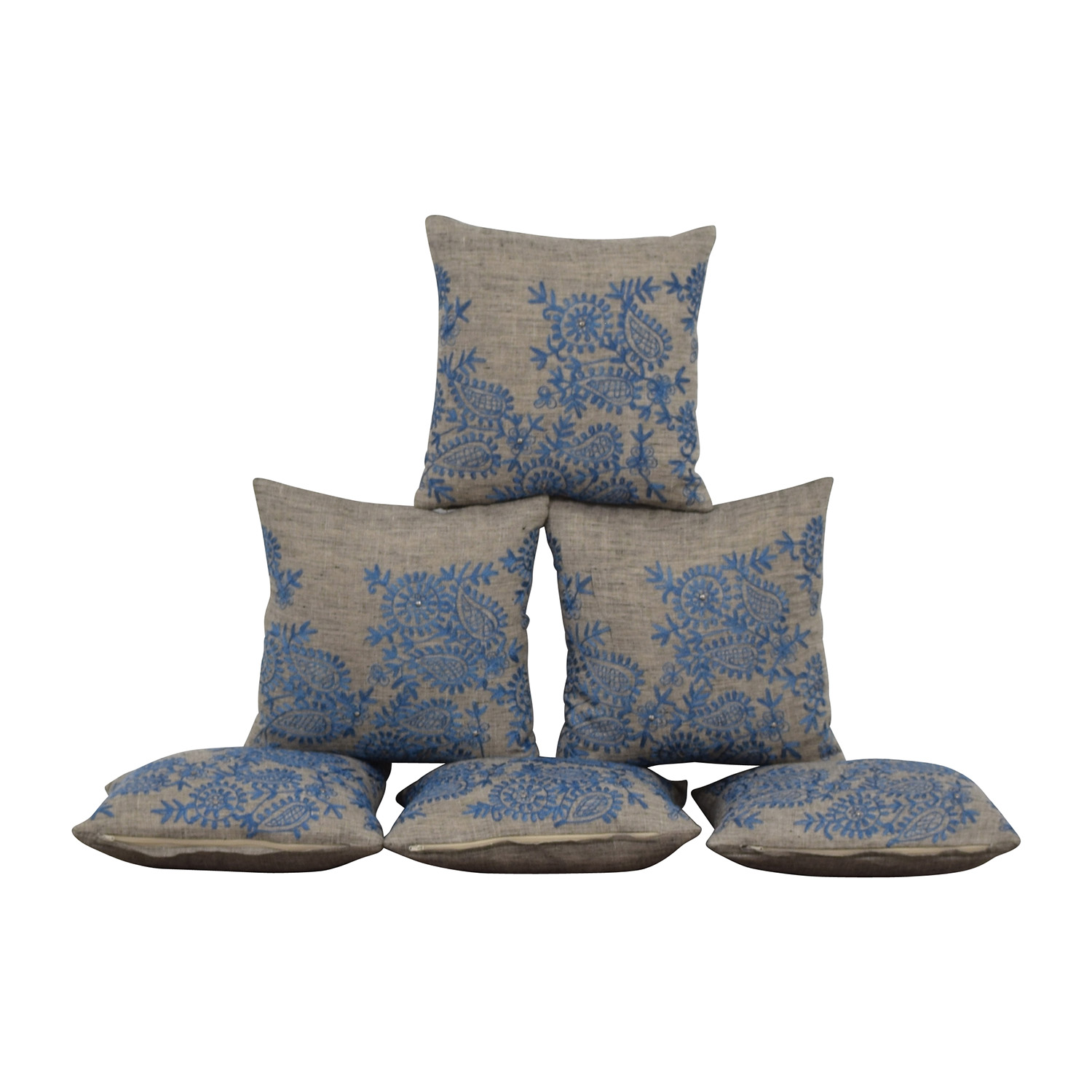 Grey with Blue Embroidered Toss Pillows second hand