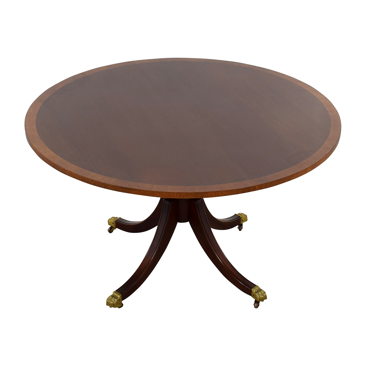 Mahogany Round Pedestal Table on Castors / Dinner Tables