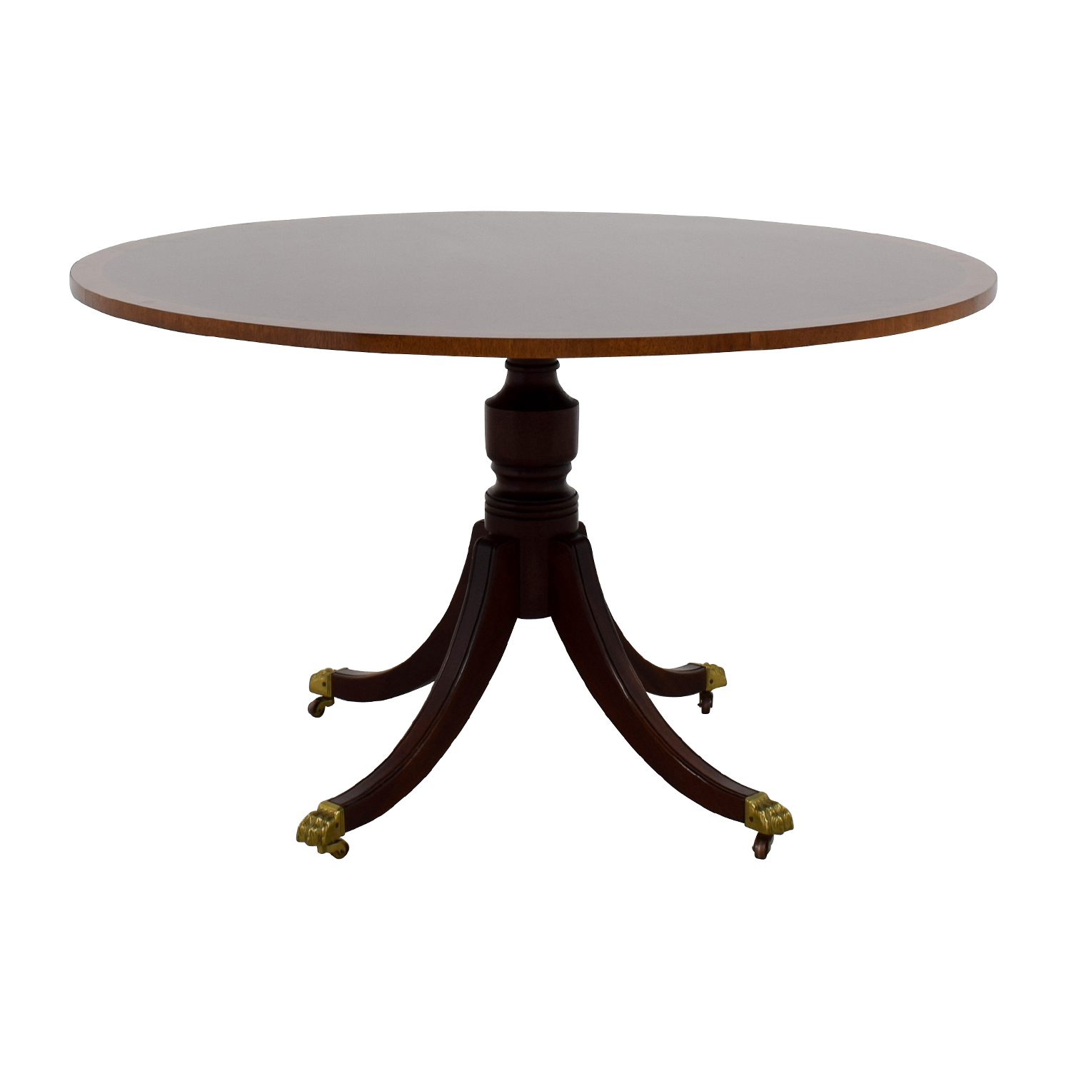 Mahogany Round Pedestal Table on Castors discount