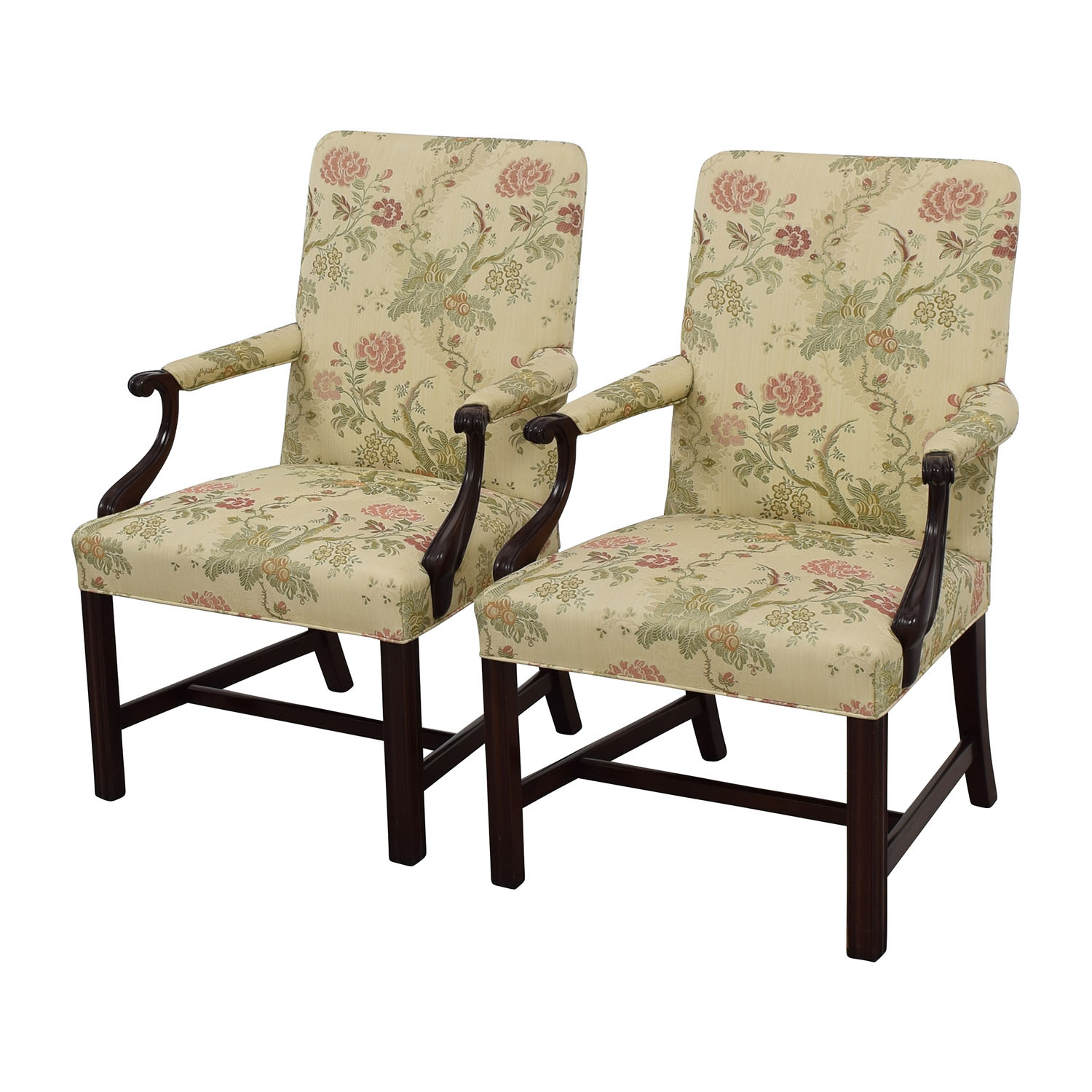 90% OFF - Traditional Upholstered Arm Chair, Set of Two ...