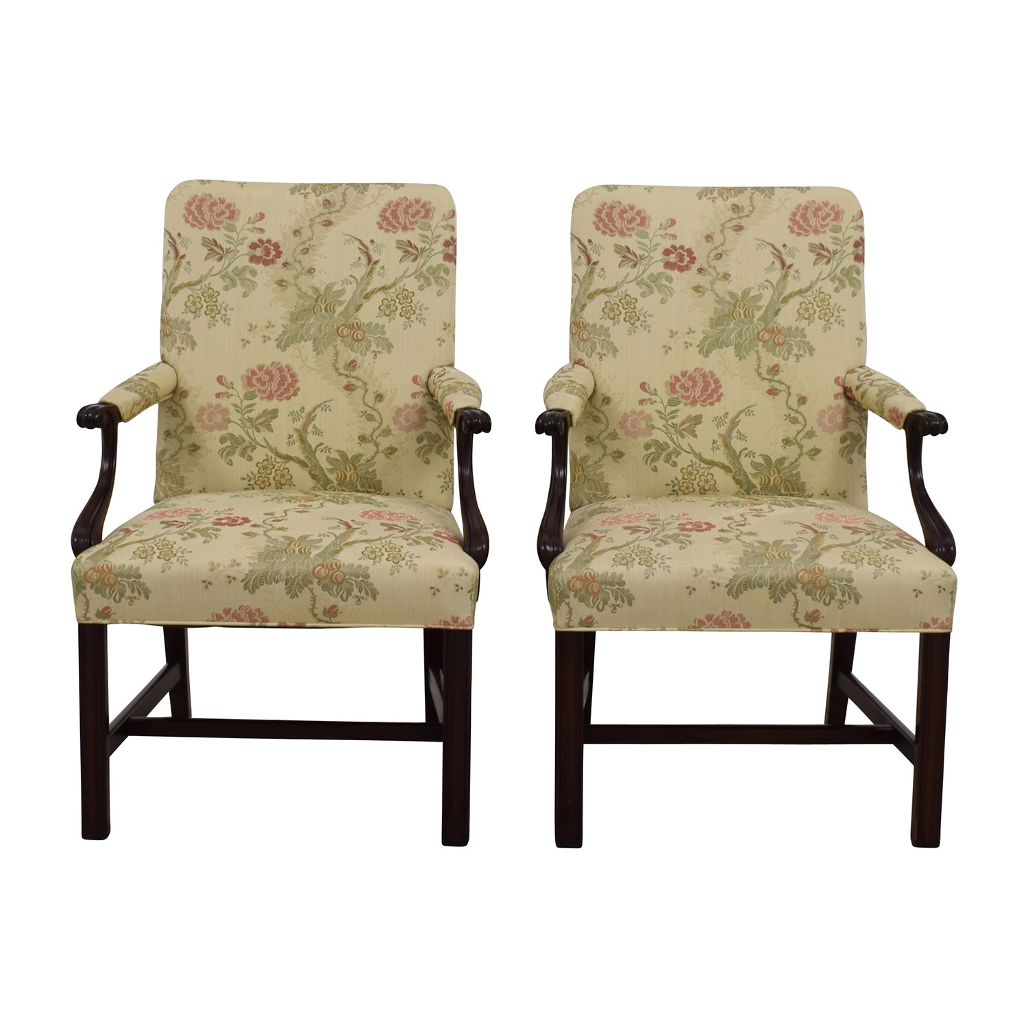 Traditional Upholstered Arm Chair, Set of Two