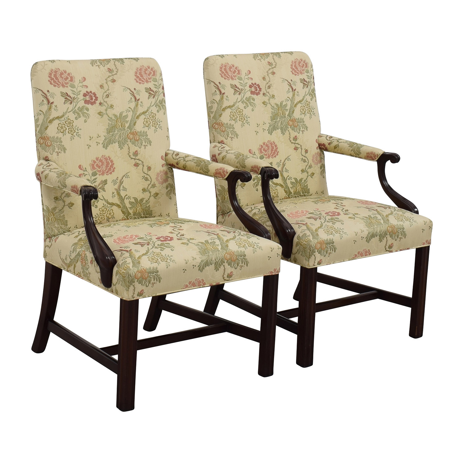 90 off traditional upholstered arm chair set of two for Upholstered accent chairs cheap