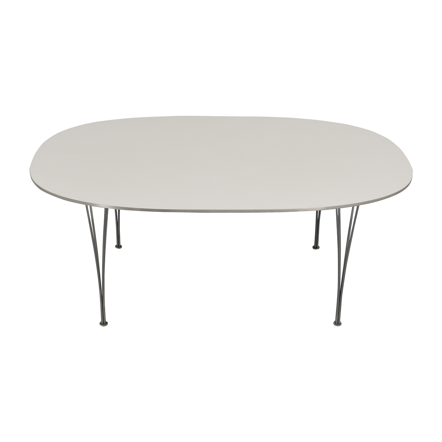 Fritz Hansen Fritz Hasen White and Chrome Oval Table used