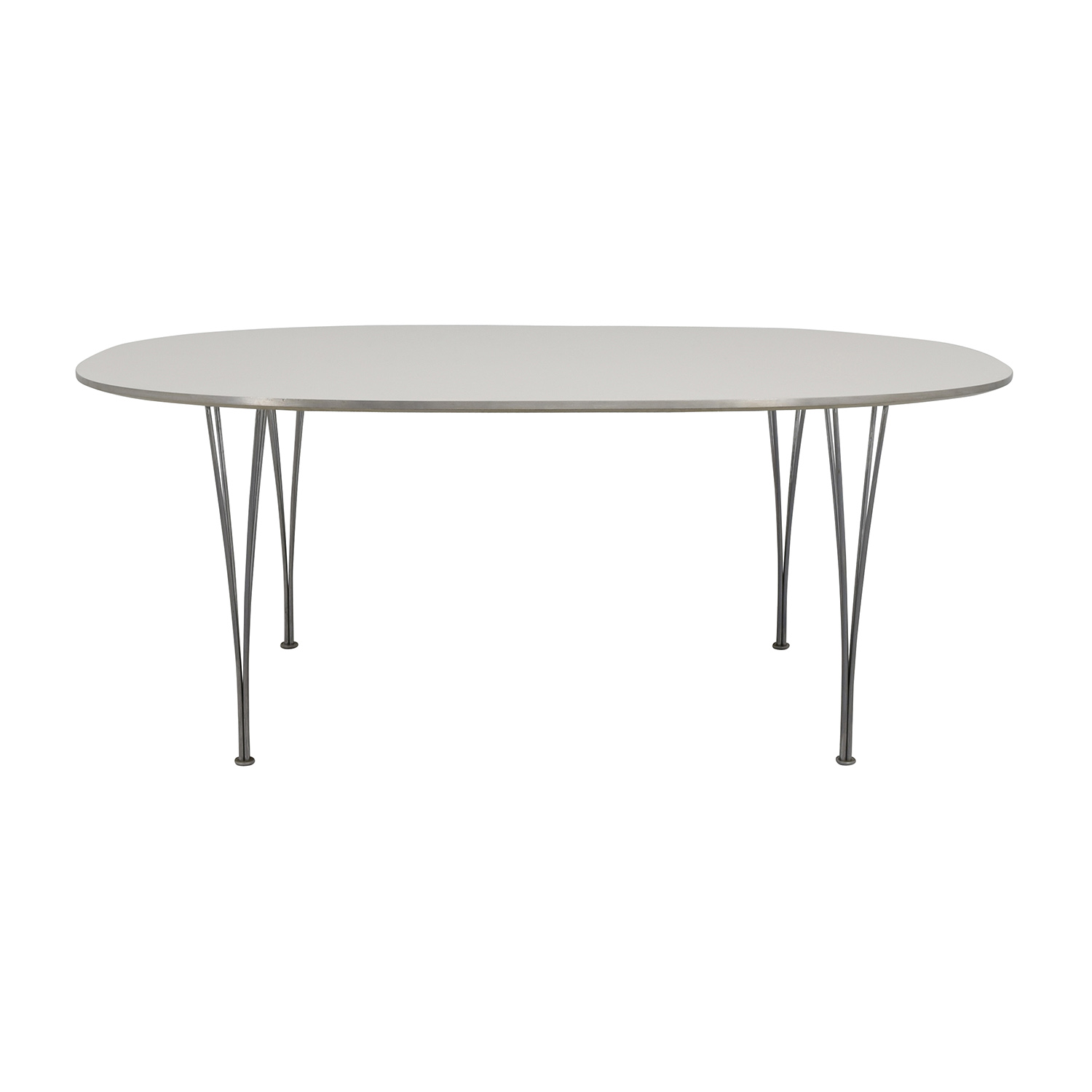 Fritz Hansen Fritz Hasen White and Chrome Oval Table second hand