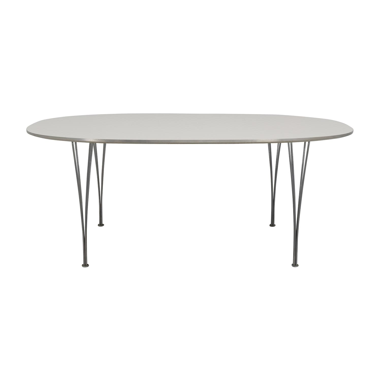 buy Fritz Hasen White and Chrome Oval Table Fritz Hansen