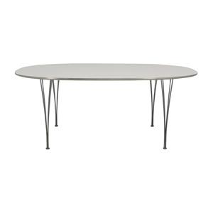 Fritz Hansen Fritz Hasen White and Chrome Oval Table on sale