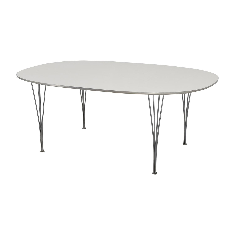 Fritz Hansen Fritz Hasen White and Chrome Oval Table nj