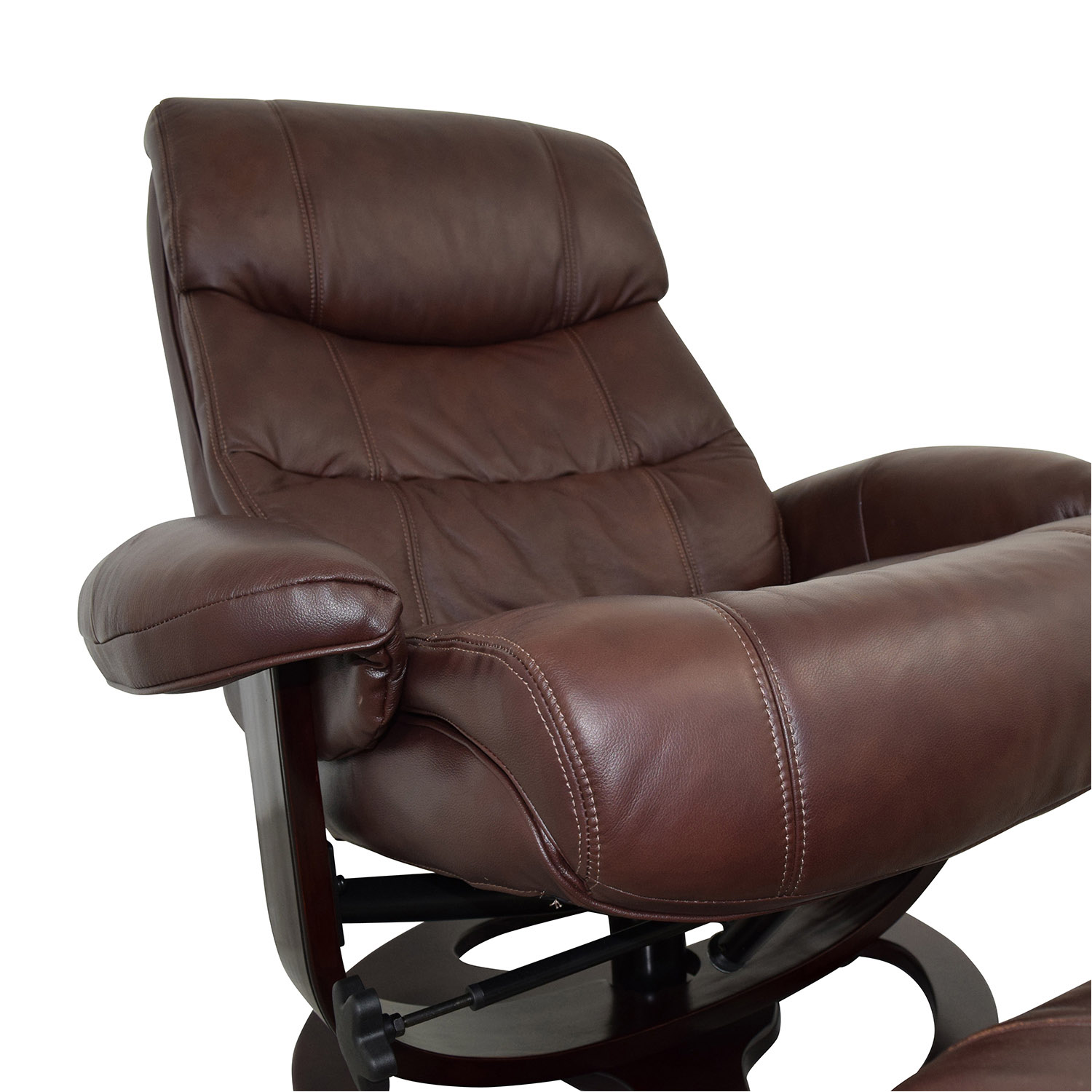Macys Aby Brown Leather Recliner Chair & Ottoman Macys