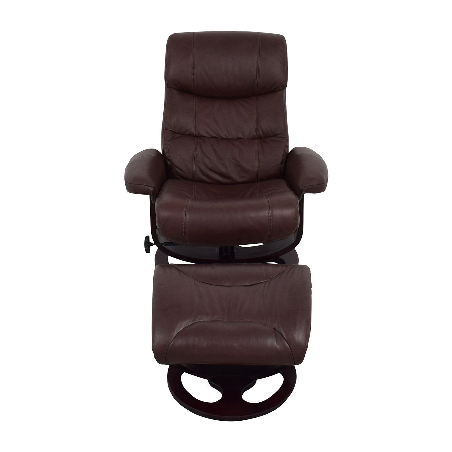 59% OFF - Macy's Macy's Aby Brown Leather Recliner Chair & Ottoman / Chairs