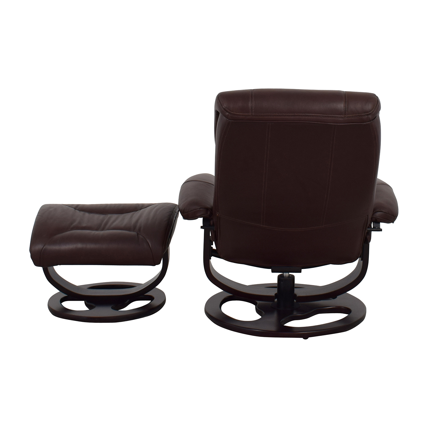 Macys Macys Aby Brown Leather Recliner Chair & Ottoman Brown
