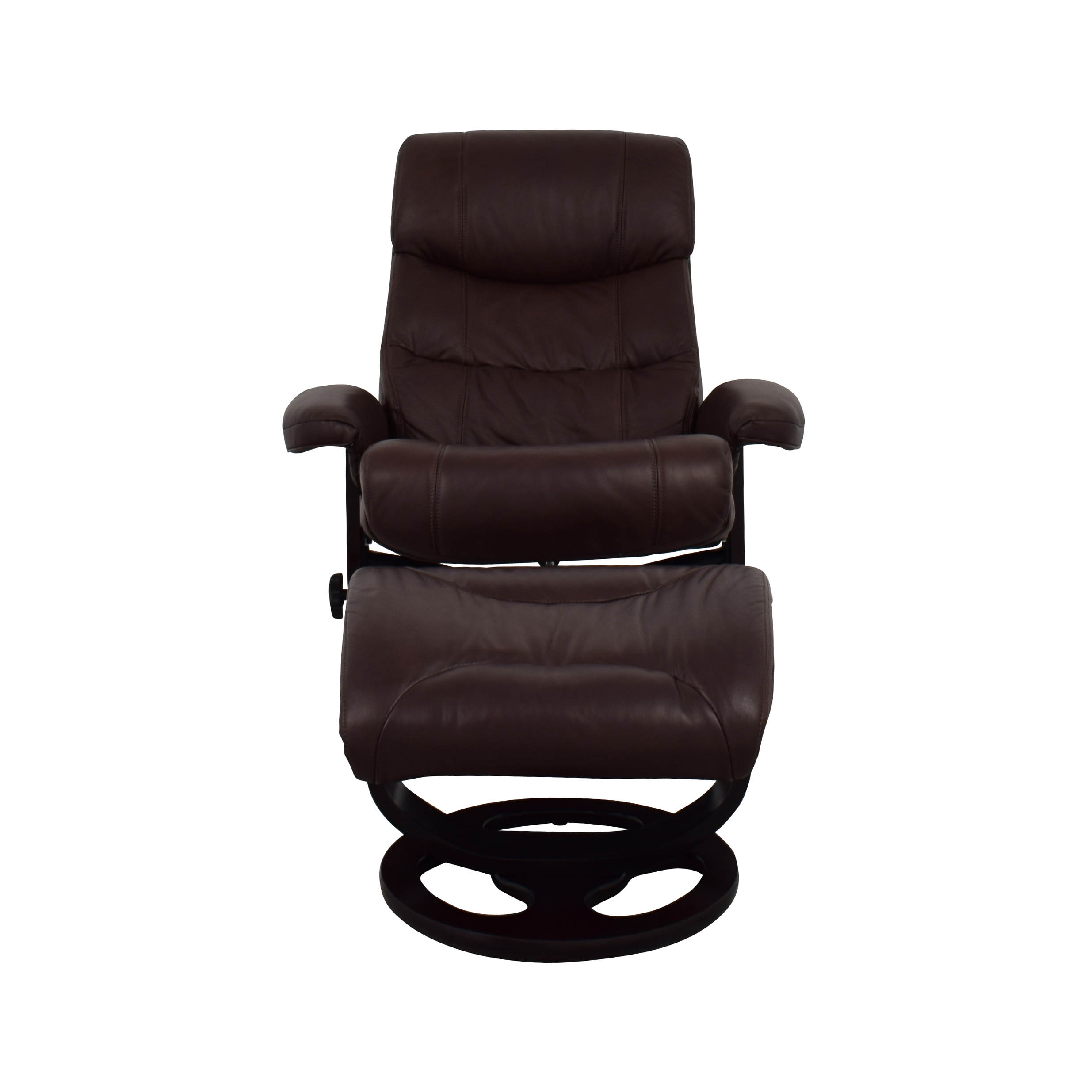 Macys Macys Aby Brown Leather Recliner Chair & Ottoman second hand