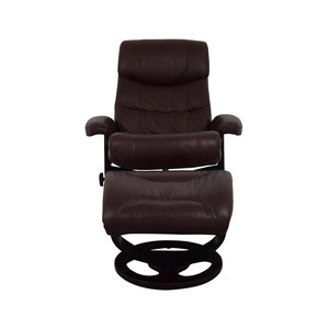 Macy's Macy's Aby Brown Leather Recliner Chair & Ottoman nj