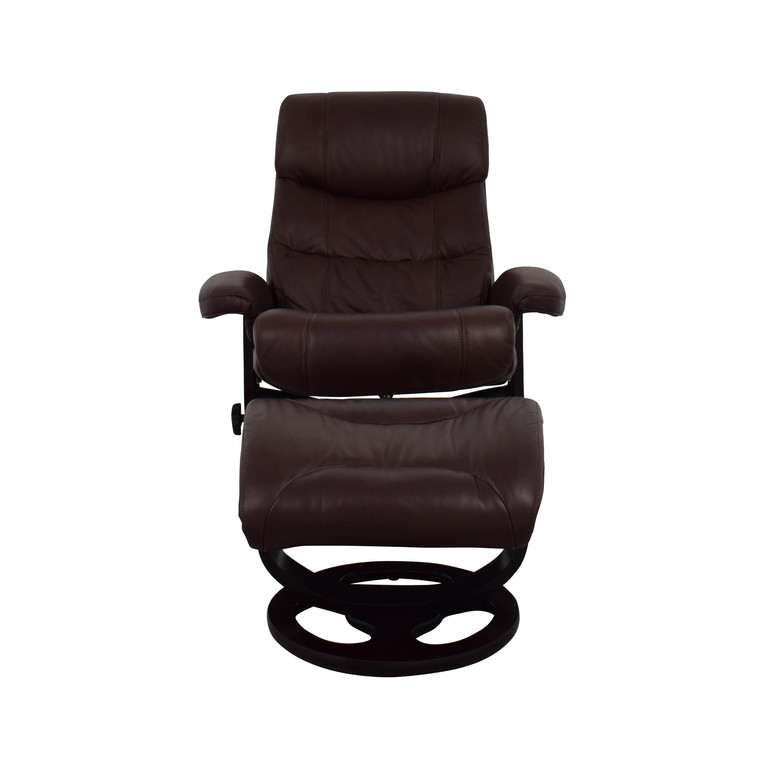Macy's Macy's Aby Brown Leather Recliner Chair & Ottoman price