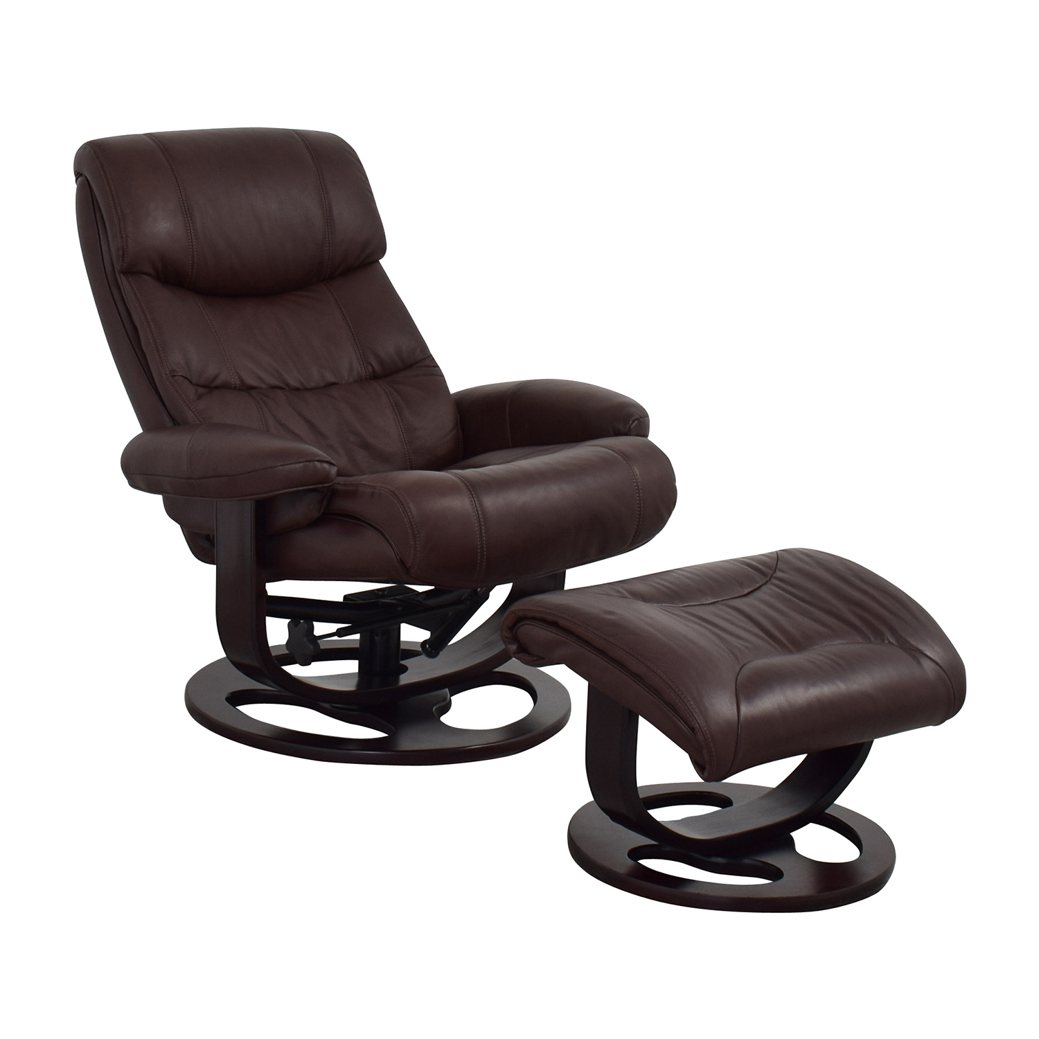 Macys Macys Aby Brown Leather Recliner Chair & Ottoman Recliners