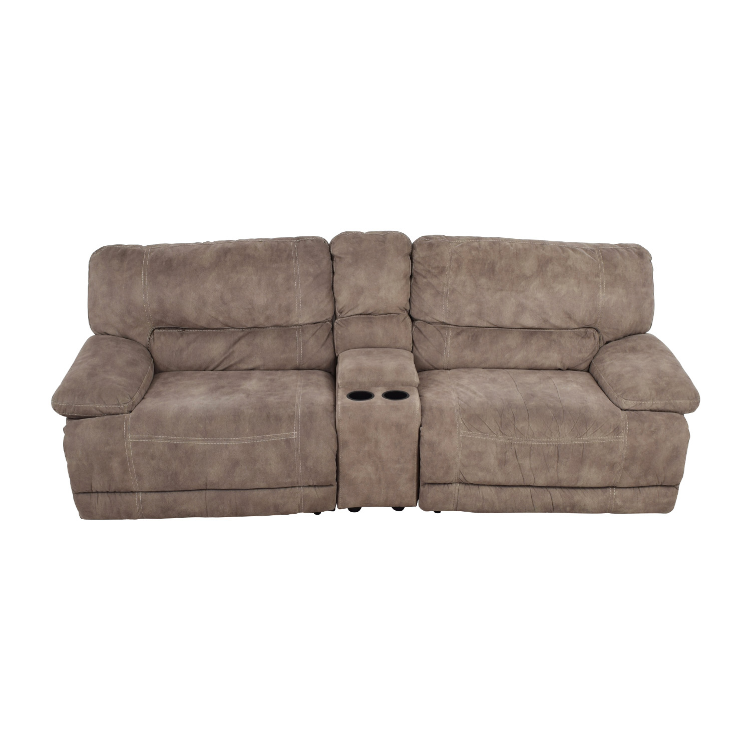 Raymour and Flanagan Raymour & Flanigan Grey Power Recliner with Console nyc