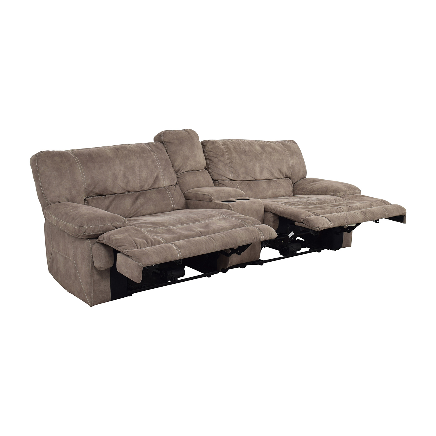Raymour and Flanagan Raymour & Flanigan Grey Power Recliner with Console Recliners