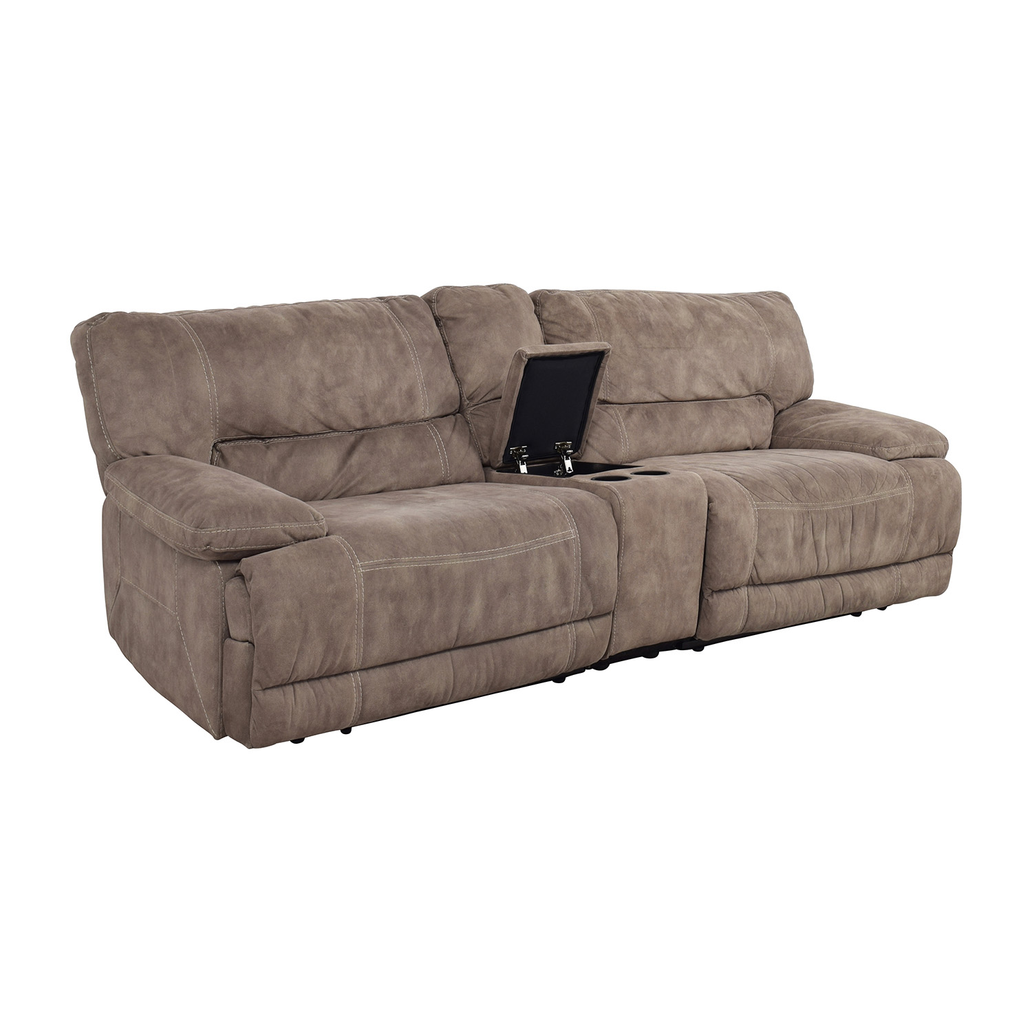 Raymour & Flanigan Grey Power Recliner with Console sale