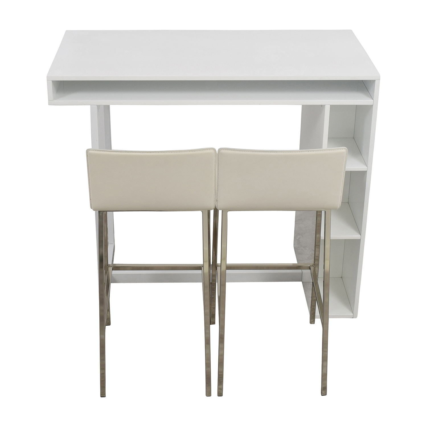 buy CB2 Public White High Dining Table with Phoenix Ivory Barstools CB2 Dining Sets