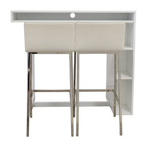 CB2 CB2 Public White High Dining Table with Phoenix Ivory Barstools discount