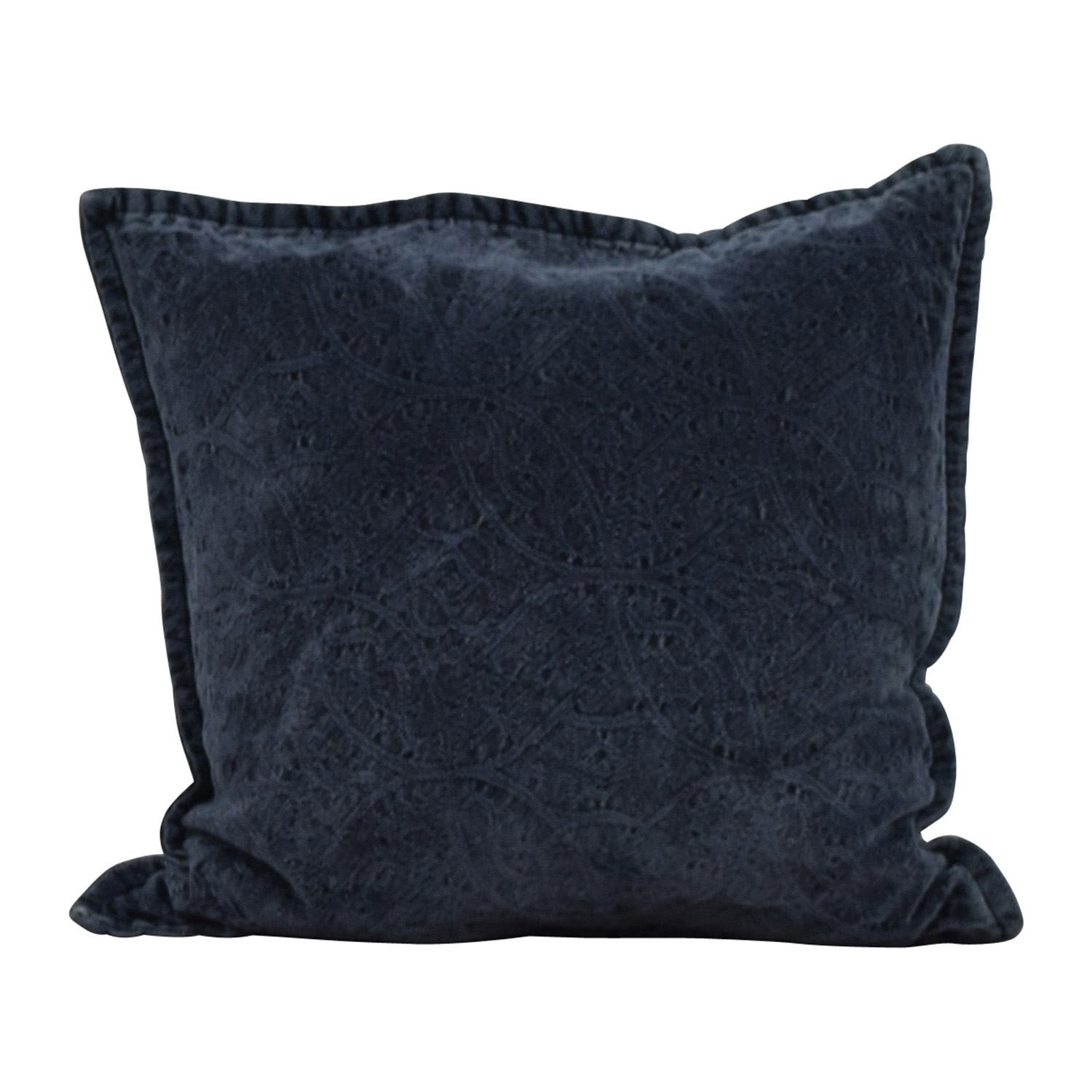 Dark Blue Raised Design Toss Pillow for sale