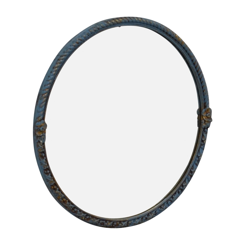 Distressed Blue Vintage Round Mirror / Mirrors