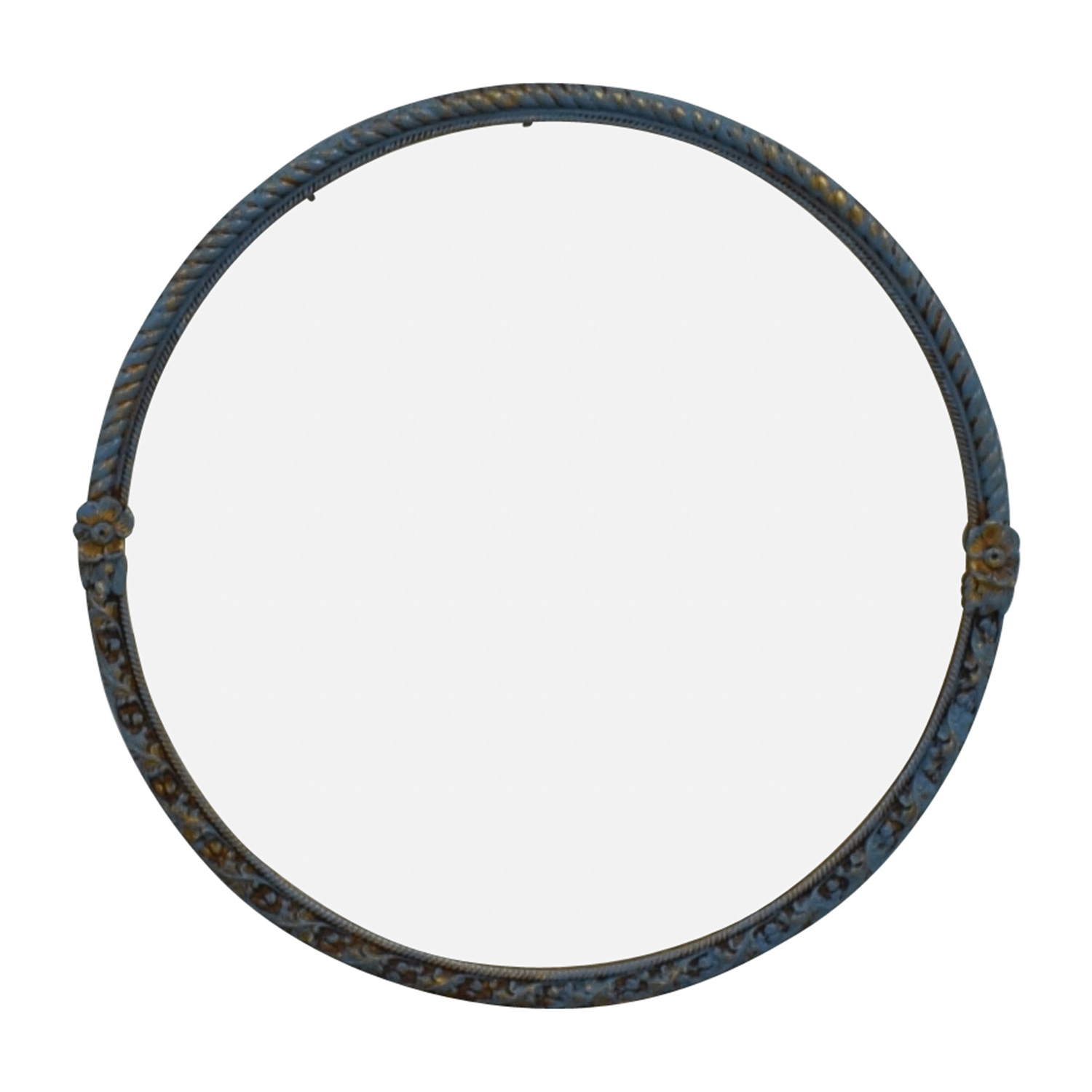 shop Distressed Blue Vintage Round Mirror Decor