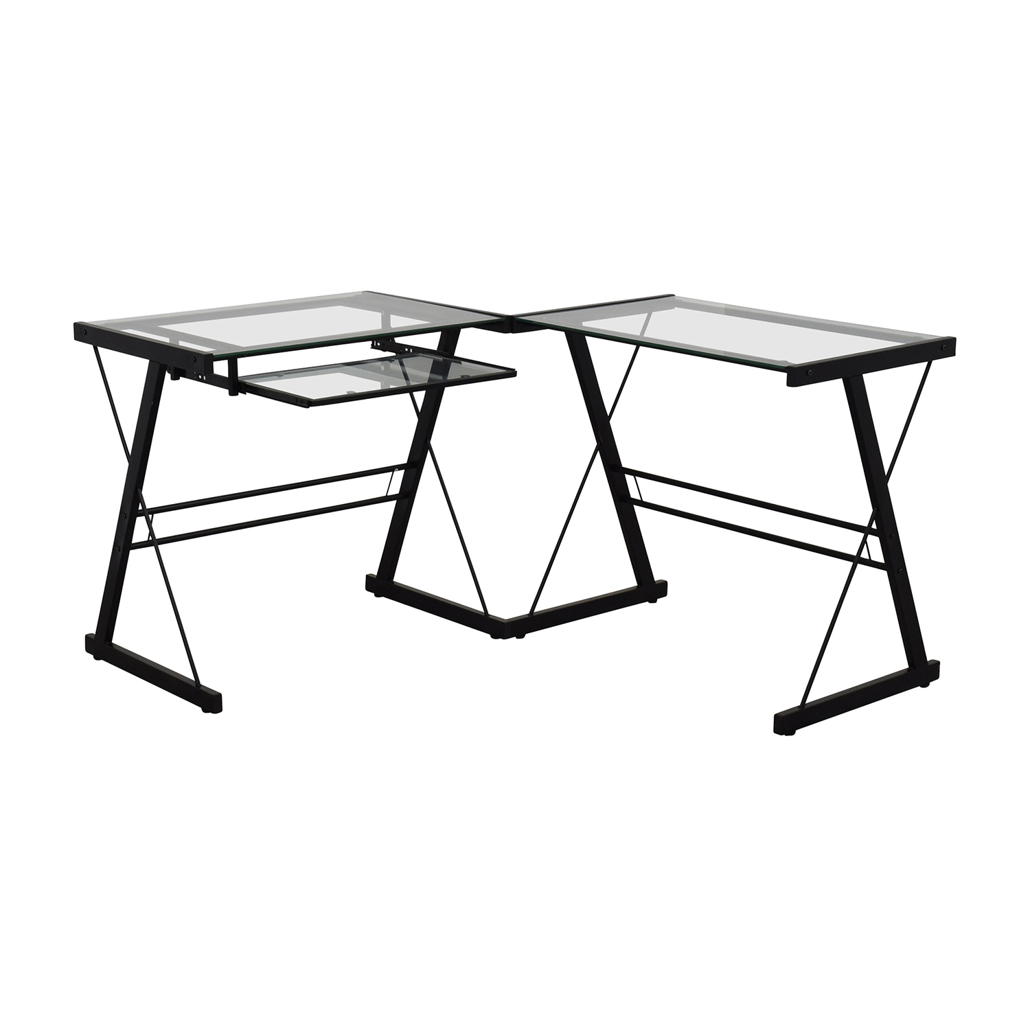 Walker Edison Walker Edison Two-Piece Glass & Black Metal Contemporary Desk Black