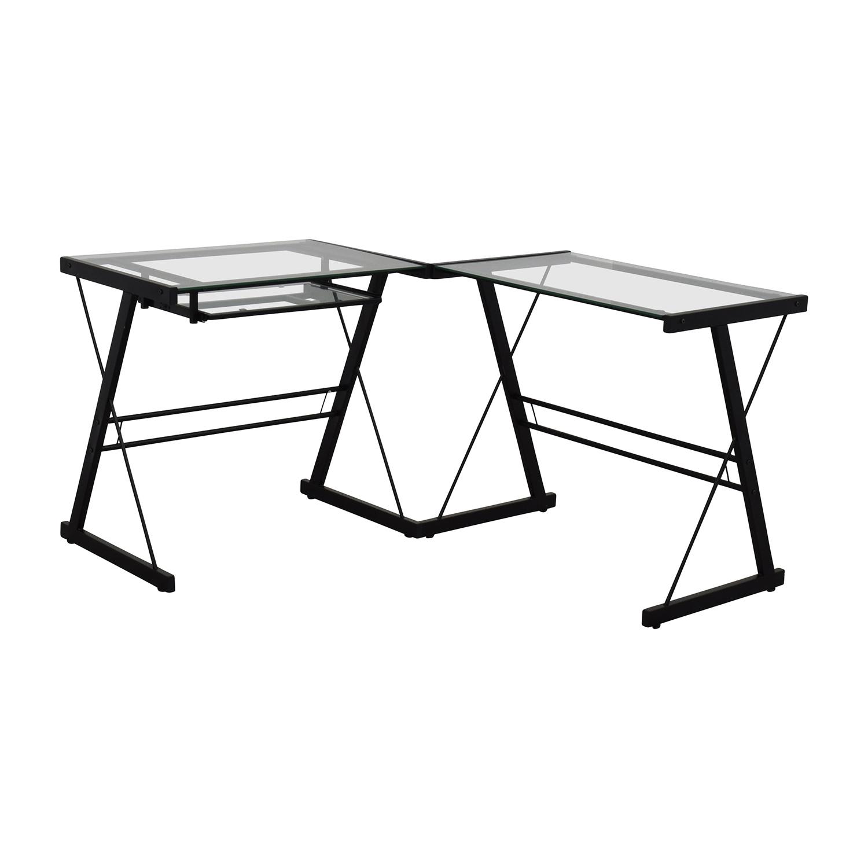 Walker Edison Walker Edison Two-Piece Glass & Black Metal Contemporary Desk dimensions