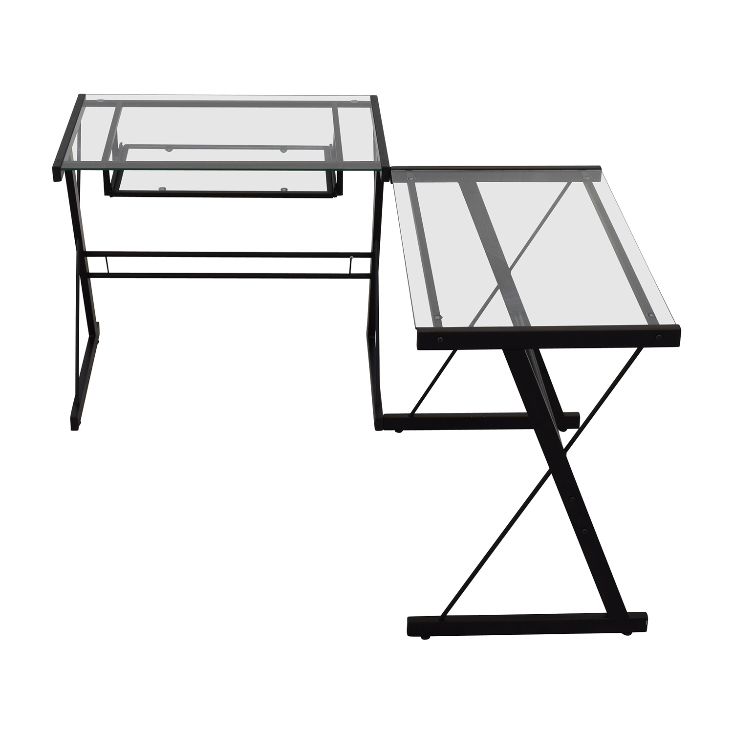 Walker Edison Walker Edison Two-Piece Glass & Black Metal Contemporary Desk nj