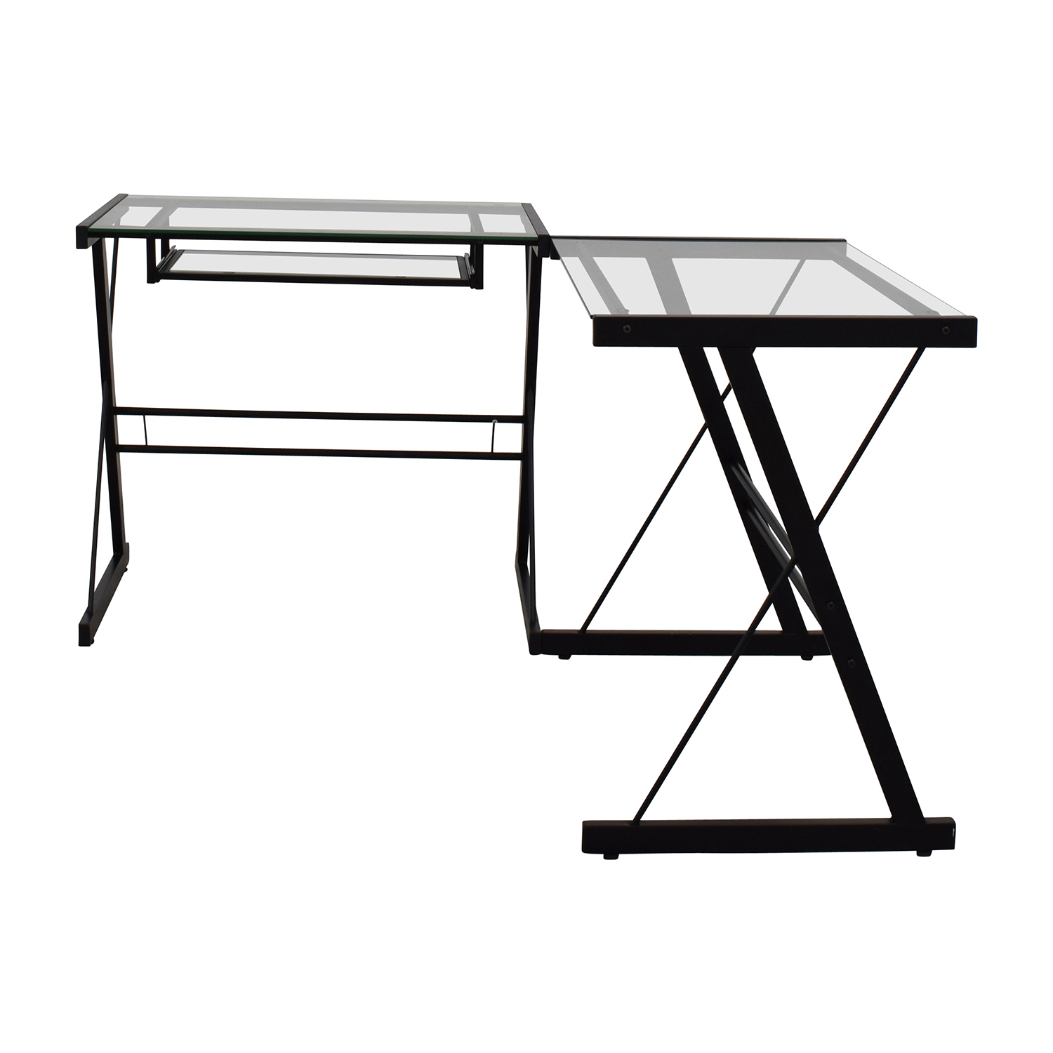 Walker Edison Walker Edison Two-Piece Glass & Black Metal Contemporary Desk coupon