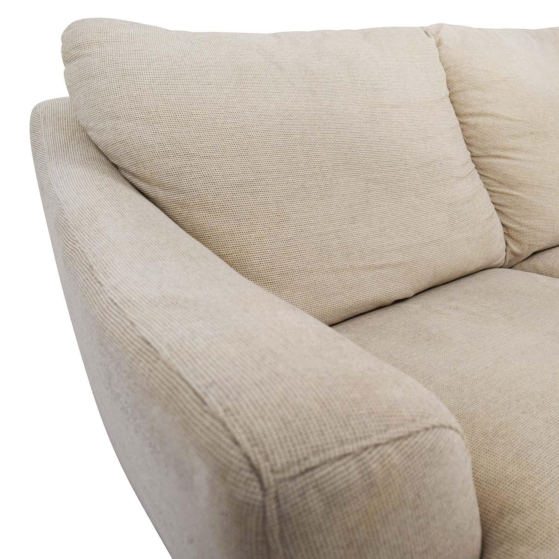 90 Off Natuzzi Italsofa Beige Tweed Three Cushion Fabric Sofa Sofas