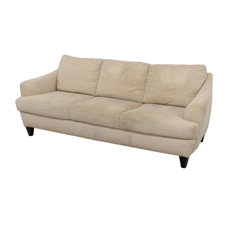 Italsofa Beige Tweed Three Cushion Fabric Sofa Italsofa