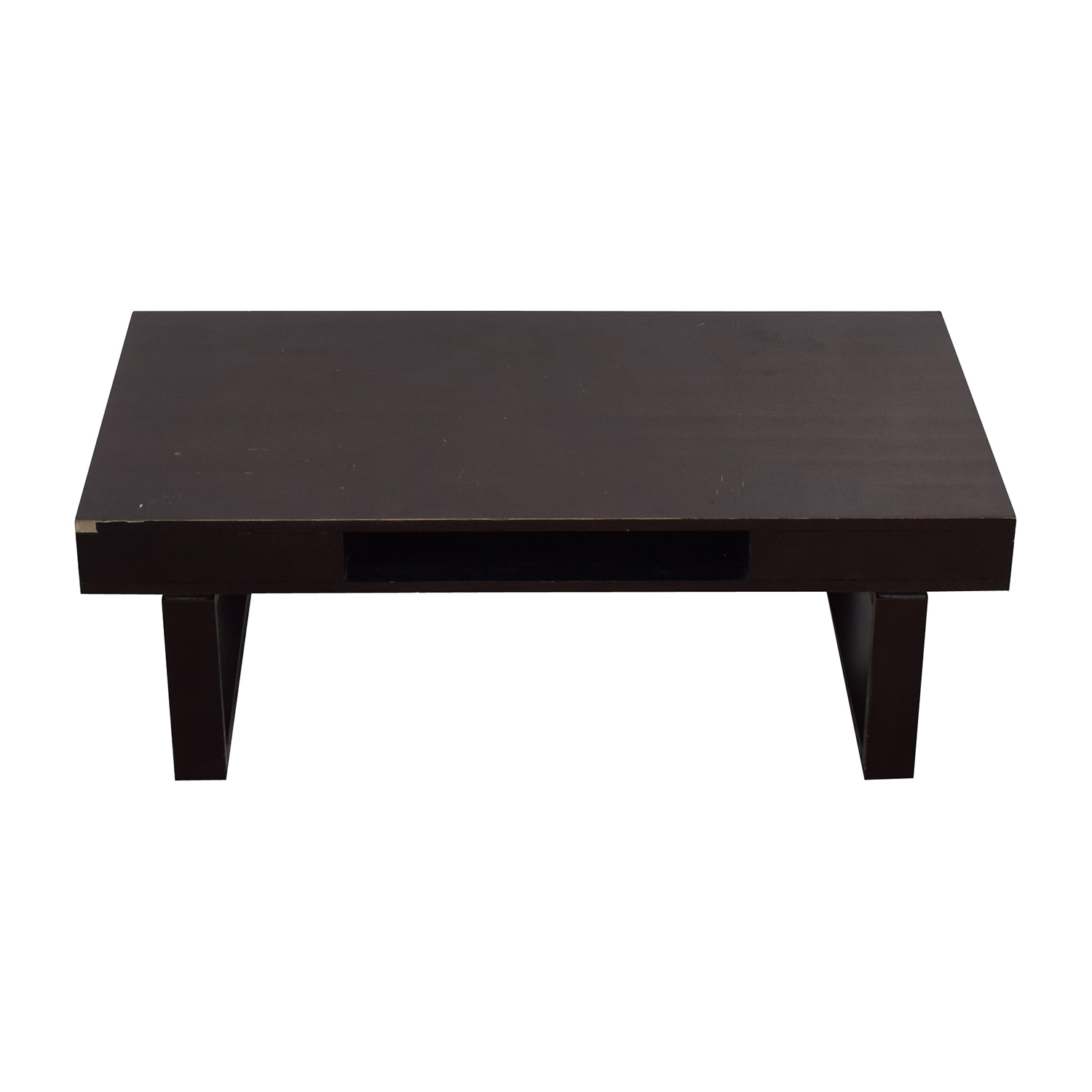 Brown Wood Coffee Table with Side Drawers
