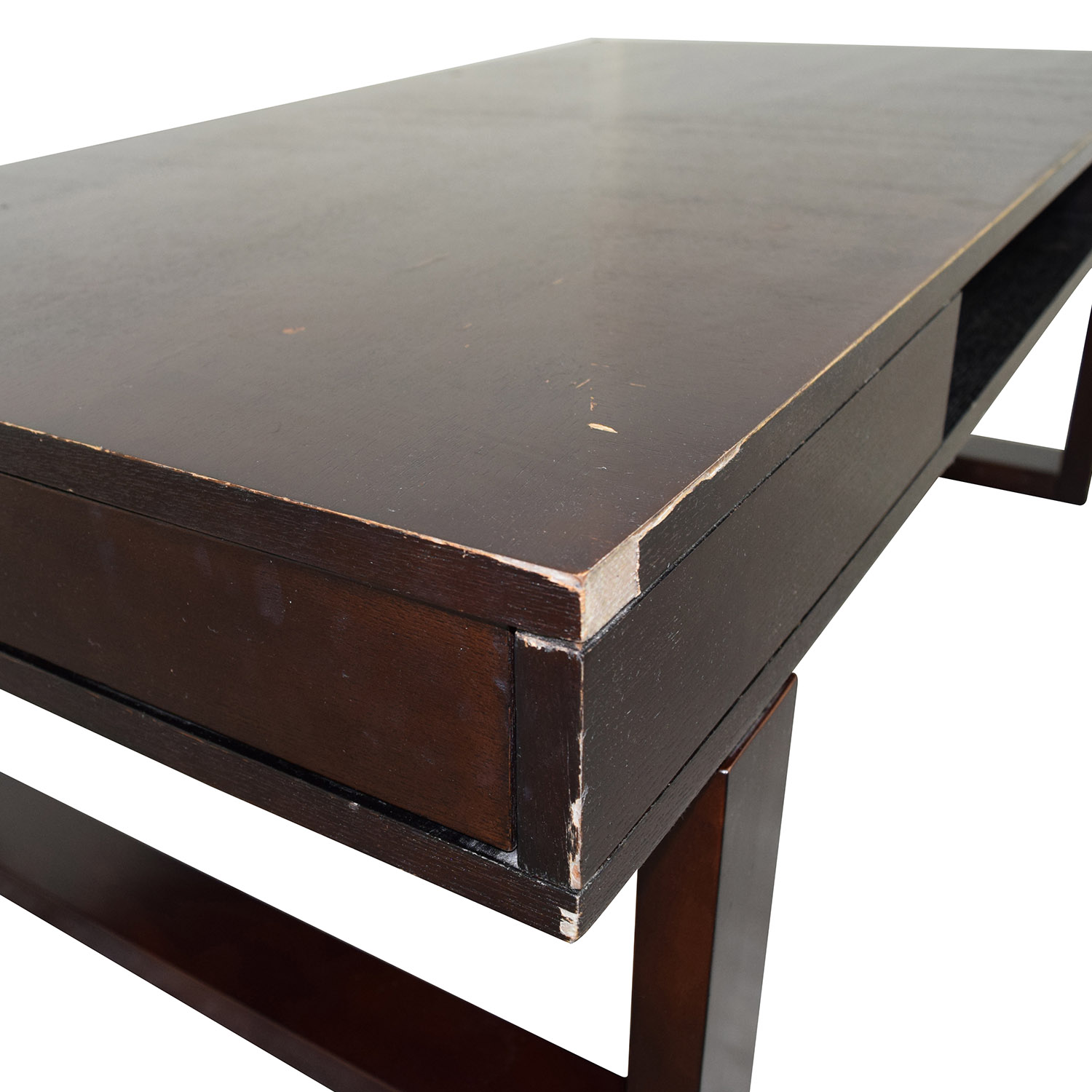 85% OFF Brown Wood Coffee Table with Side Drawers Tables