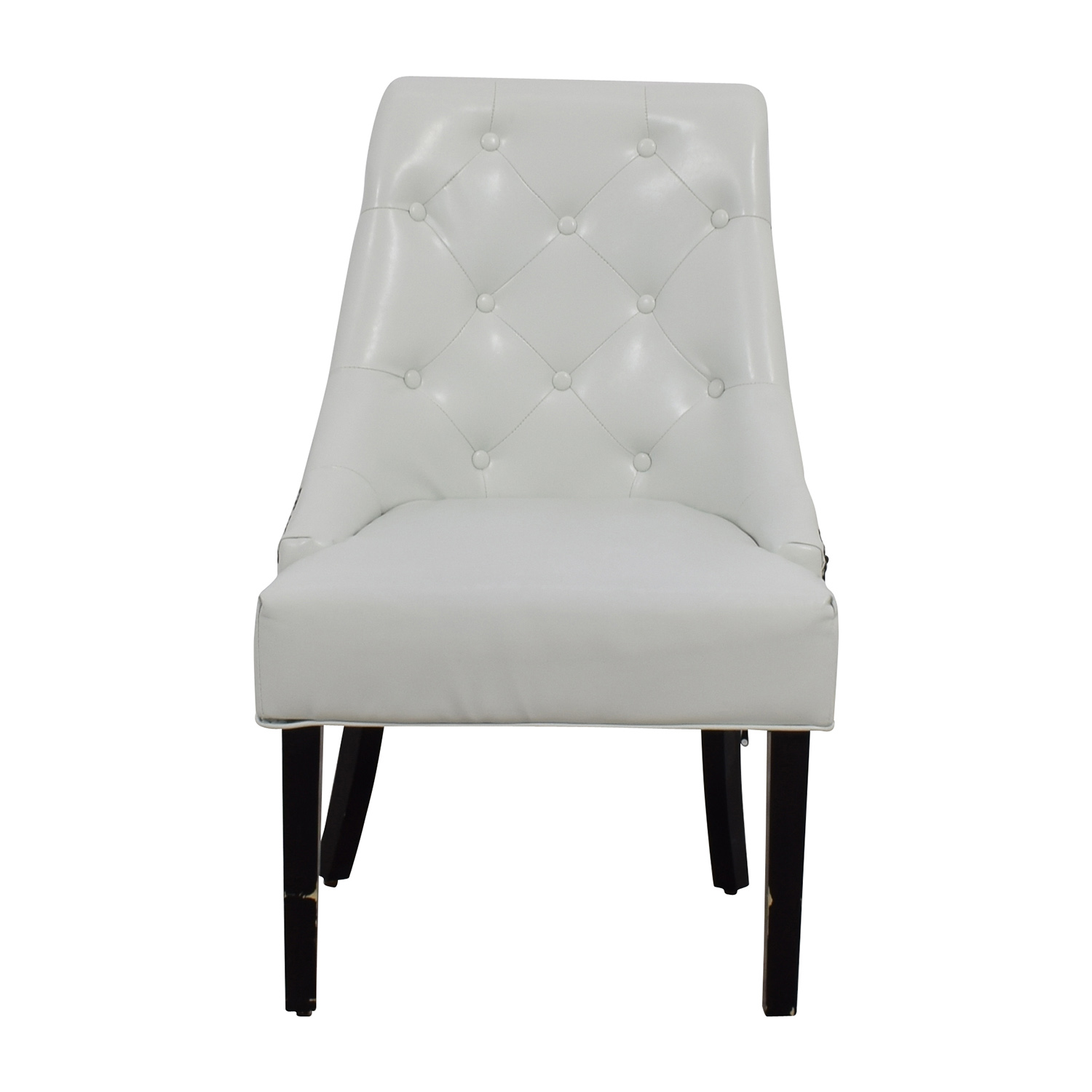 White Leather Accent Chair for sale