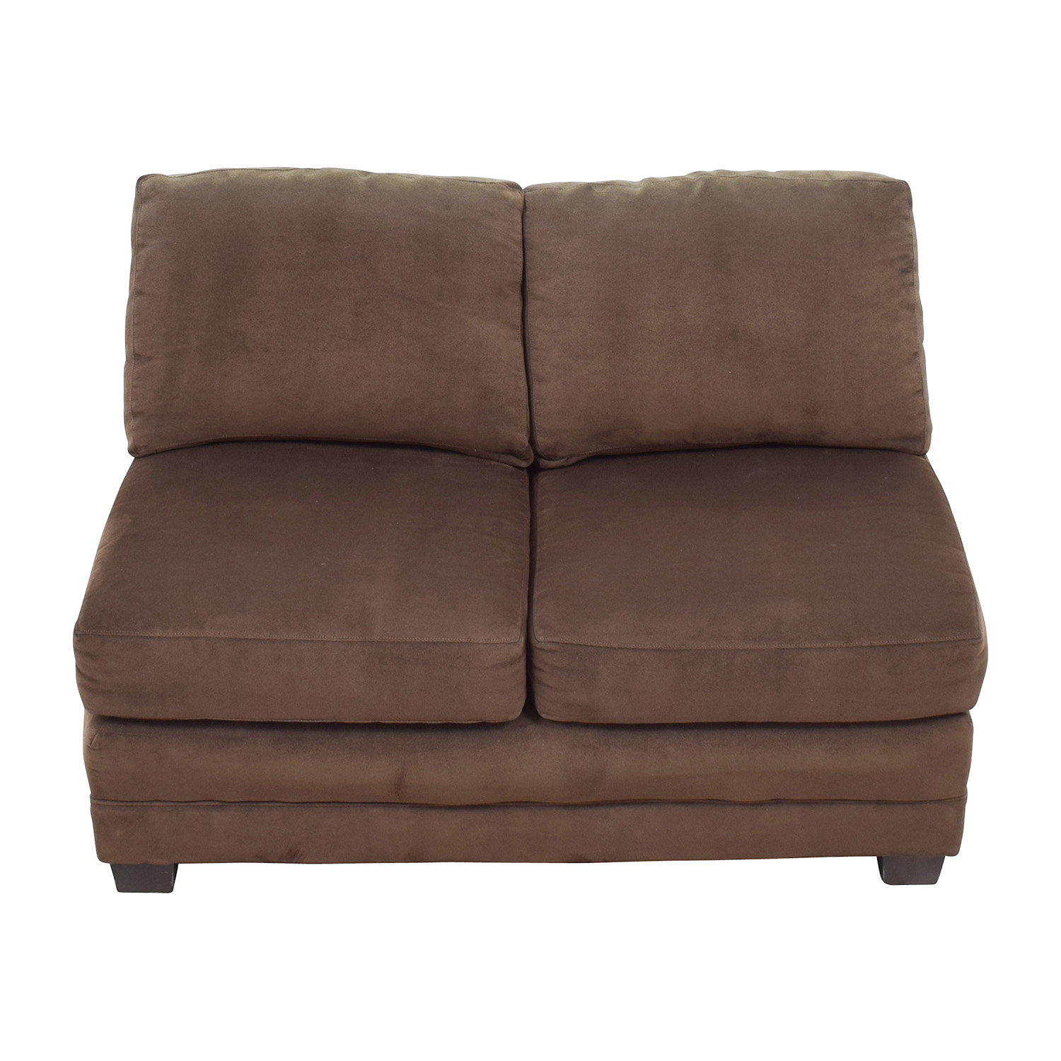 shop Crate and Barrel Brown Armless Loveseat Crate and Barrel Loveseats