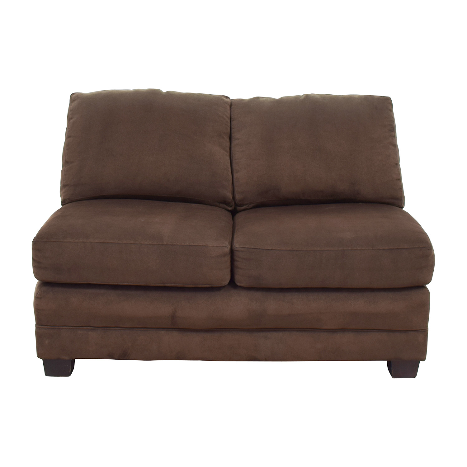 Crate and Barrel Crate and Barrel Brown Armless Loveseat on sale