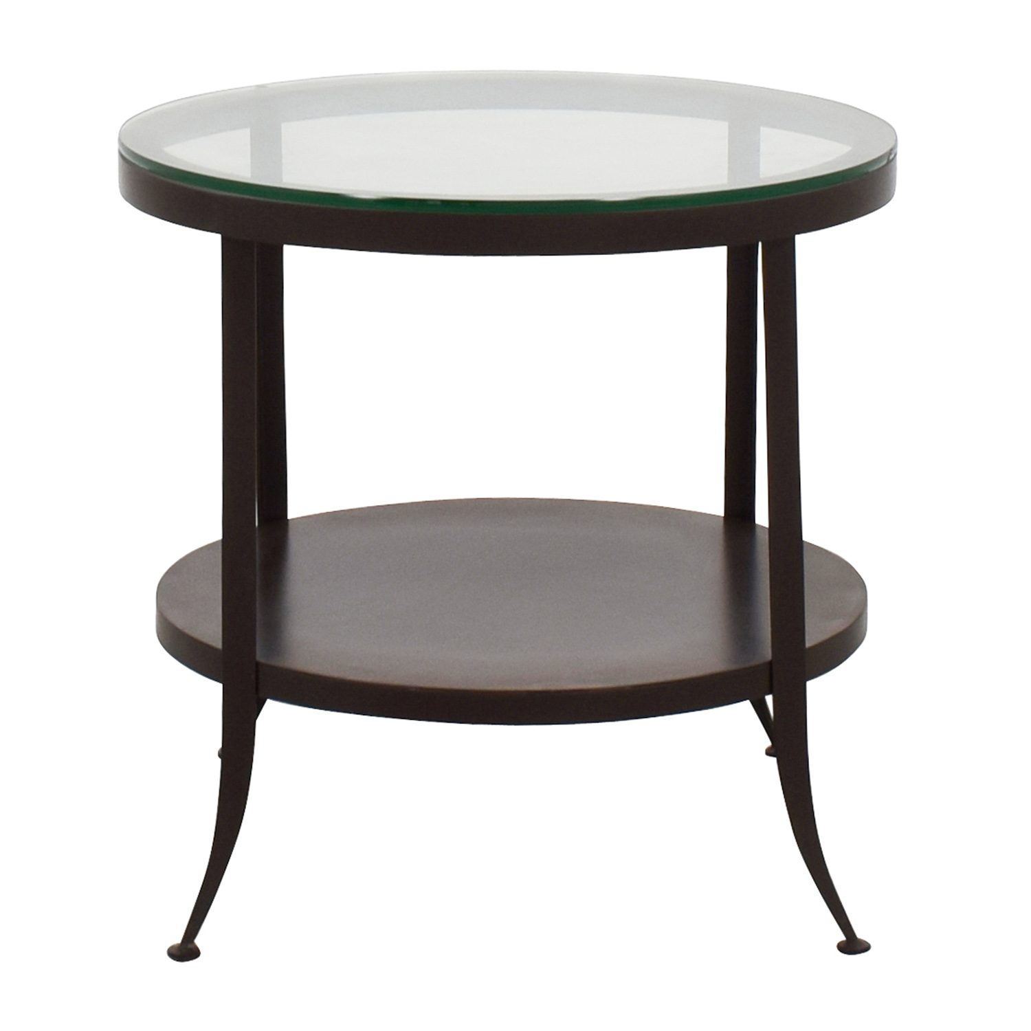 shop Crate & Barrel Round Glass Top End Table Crate and Barrel