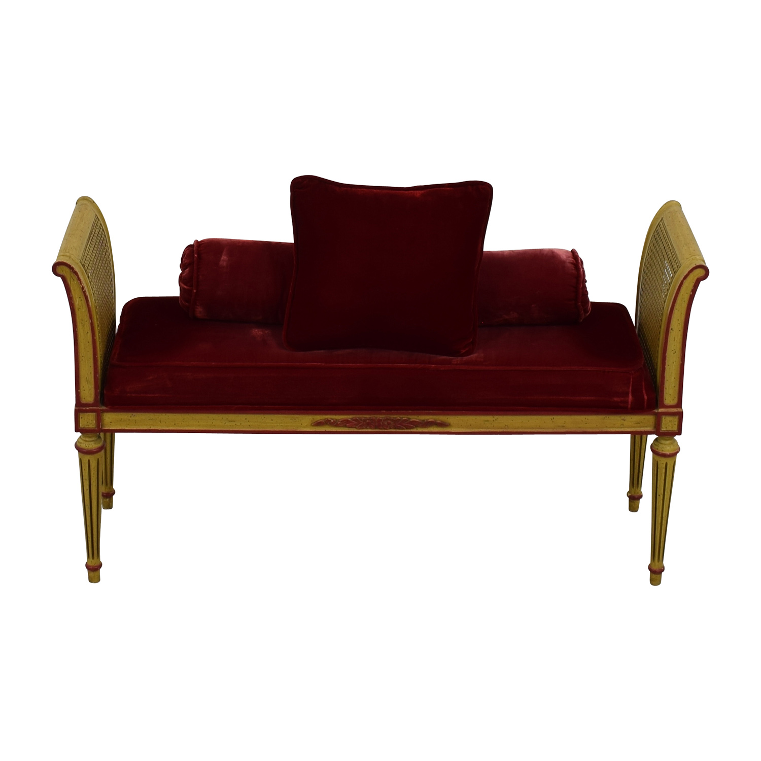 shop Antique Bench with Red Velvet Cushion and Pillow