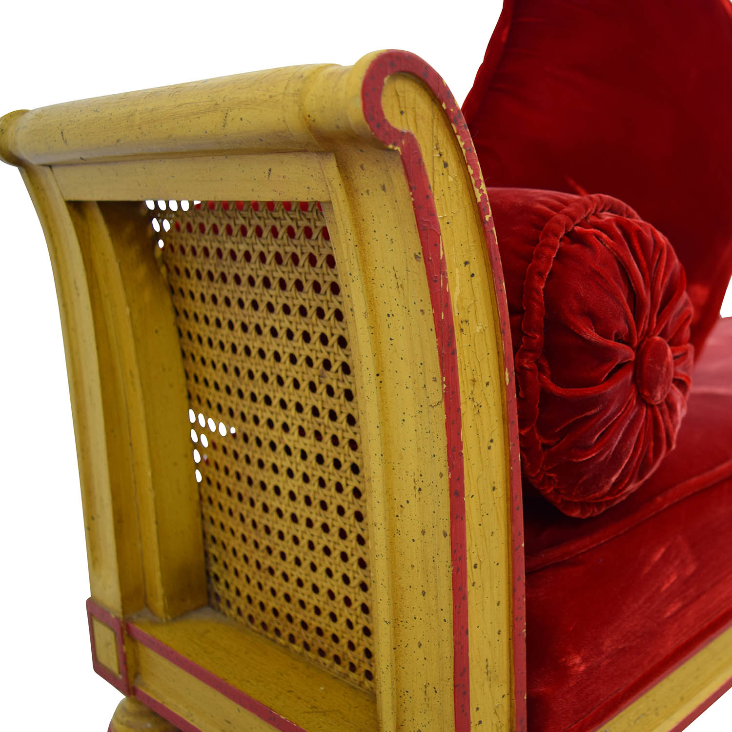shop Antique Bench with Red Velvet Cushion and Pillow online