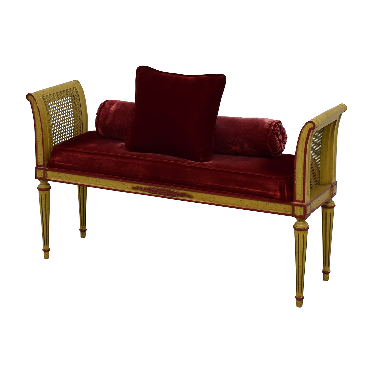 buy Antique Bench with Red Velvet Cushion and Pillow