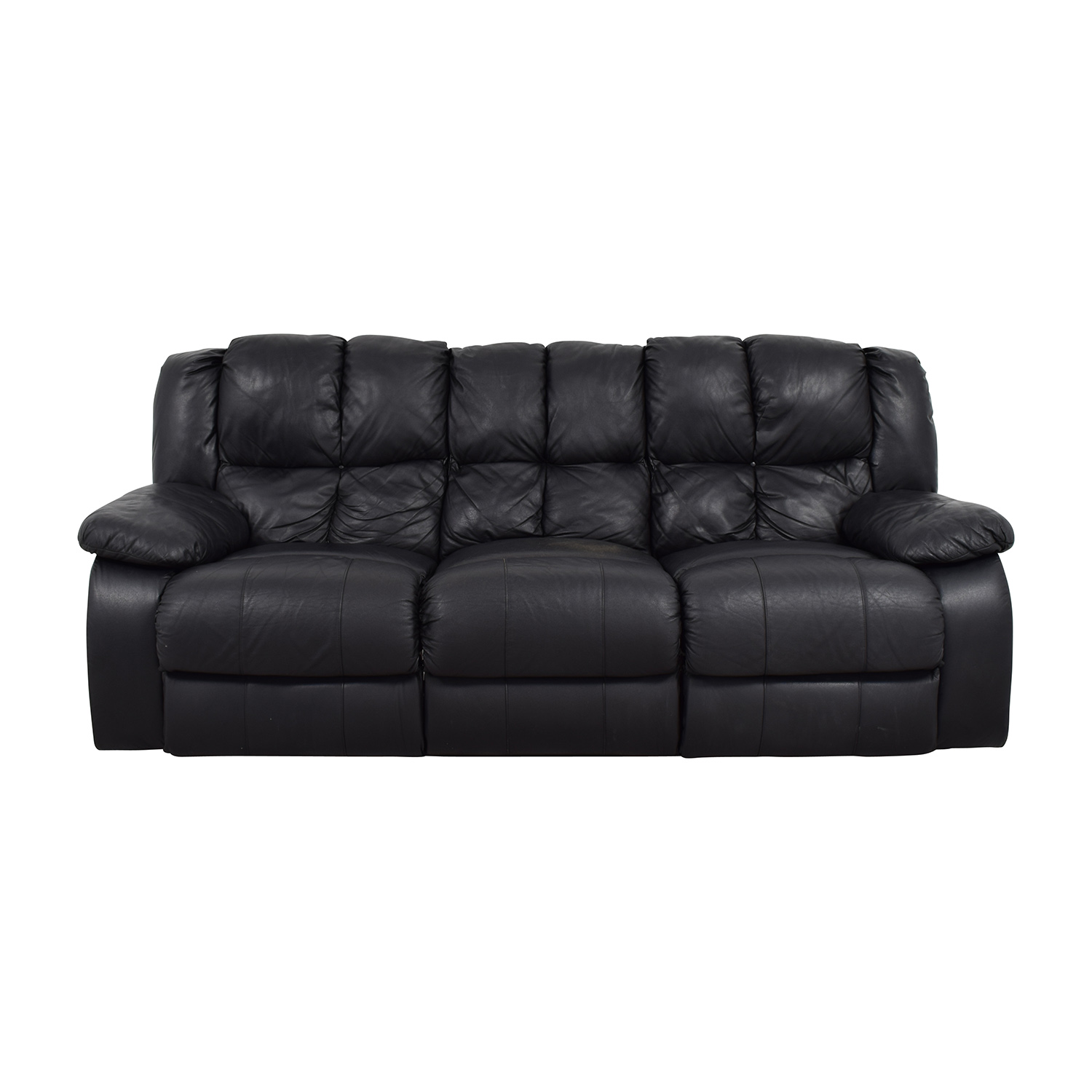 buy Raymour & Flanigan Three-Seat Leather Sofa Raymour and Flanigan