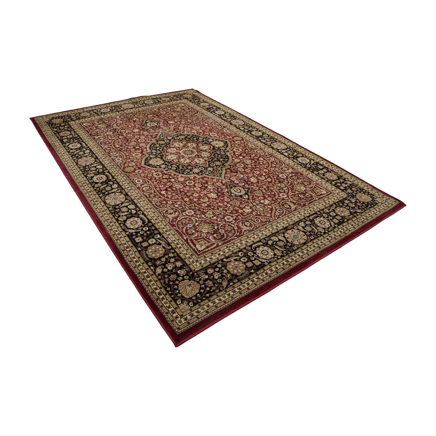 Oriental Red Black and Beige Rug Red/Multicolored